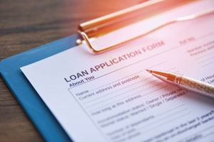A photograph of a financial loan application form.